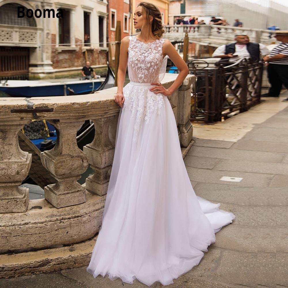 Booma Boho Gelinlik 2020 Şık Dantel Aplikler Tül hafif pembe Vintage Kolsuz Plaj Birde Giydirme Plus Size Evlilik Q1113