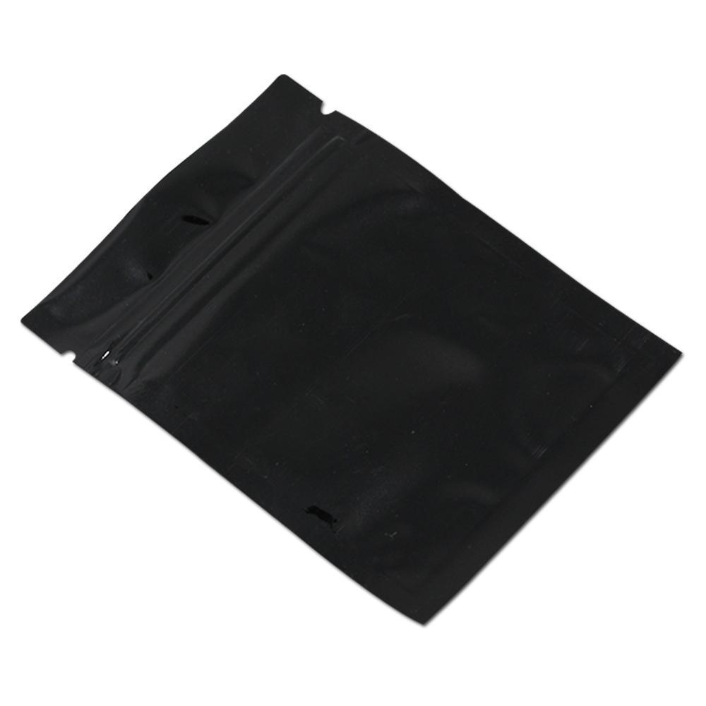 200pcs lucido nero alluminio foglio zip serratura a serratura di snack al dettaglio sacchetto di imballaggio sacchetto di calore sigillo mylar cibo noci ziplock imballaggio sacchetti h bbyzqc