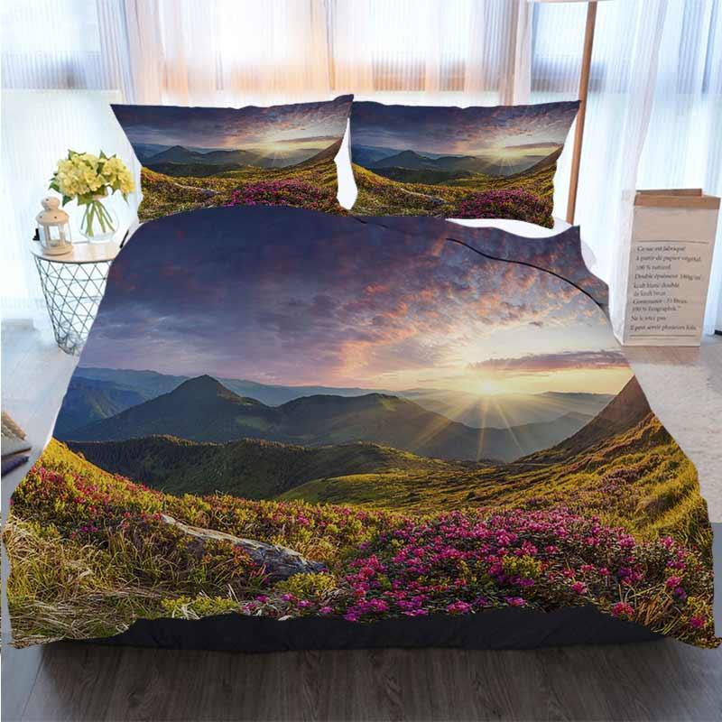 Bettwäsche 3 Stück Bettbezug Sets Zauber Rosa Rhododendron-Blumen in den Bergen Sommer Polyester Bettbezug Luxus Bettwäsche-Sets