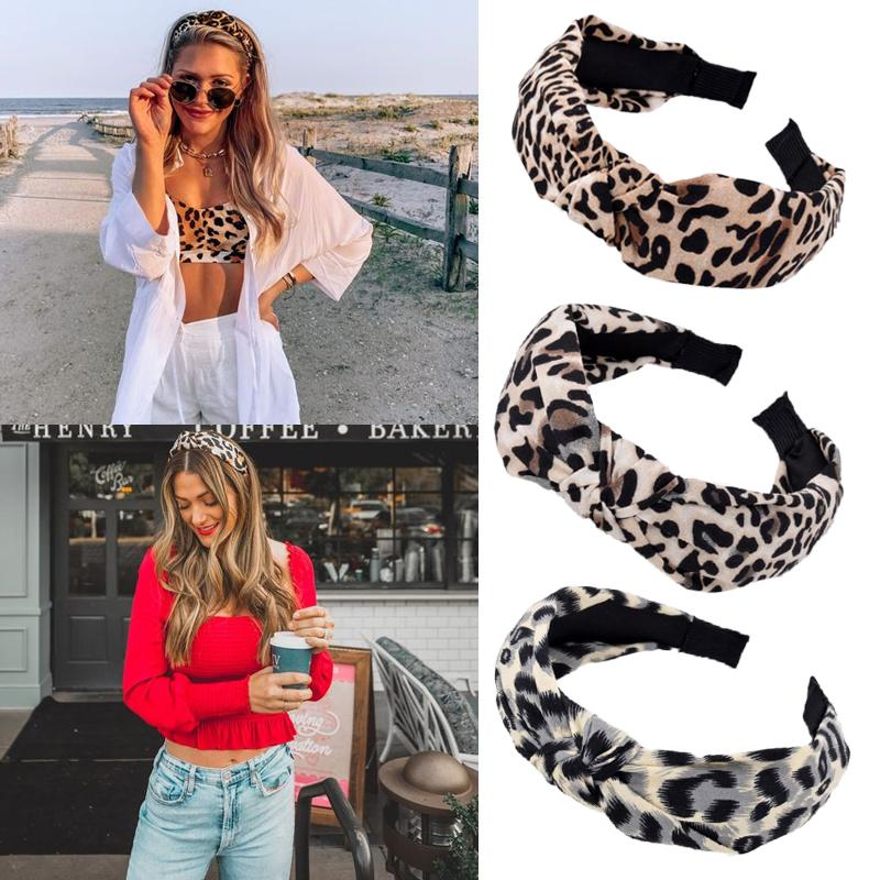 Fashion Leopard Women's Hairband Wide Side Cross Knot Fascia per ADLUT Girls Headwear Accessori per capelli Regali vacanze Y0124
