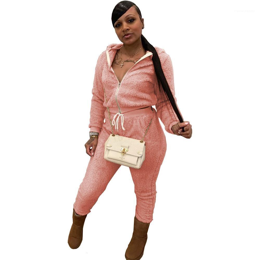 Set Donne Pantaloni a due pezzi con cappuccio a colori solidi Designer Designer Tute Cappotto Cardgian Cappotto lungo Pantaloni lunghi 2pcs Abbigliamento