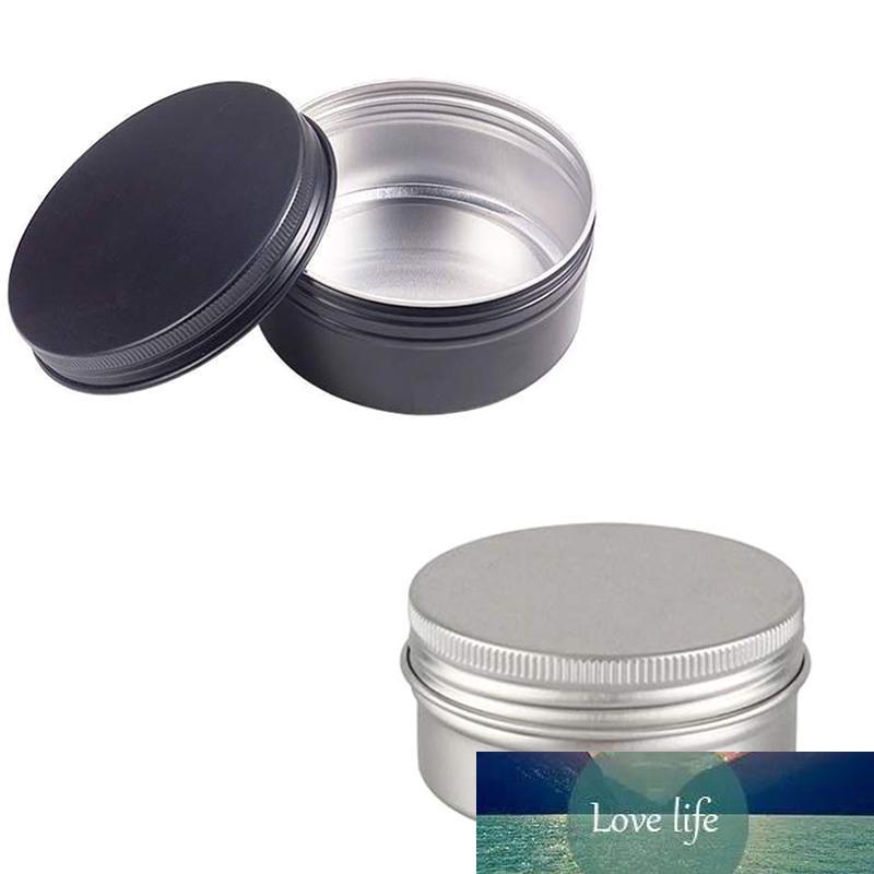 Vide Aluminium Metal 24pcs Round Tin Noir Argent cosmétiques POMMADIER Pot Case Stockage Épice, Plante aromatique Container Filetage à lèvres