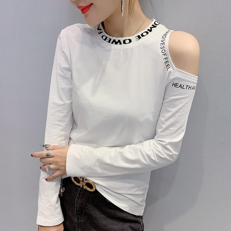 Y Automne et Hiver New Style Crew Neck Shirt de base Femme Slim Fit Off-épaule Tops imprimés Lettre manches longues