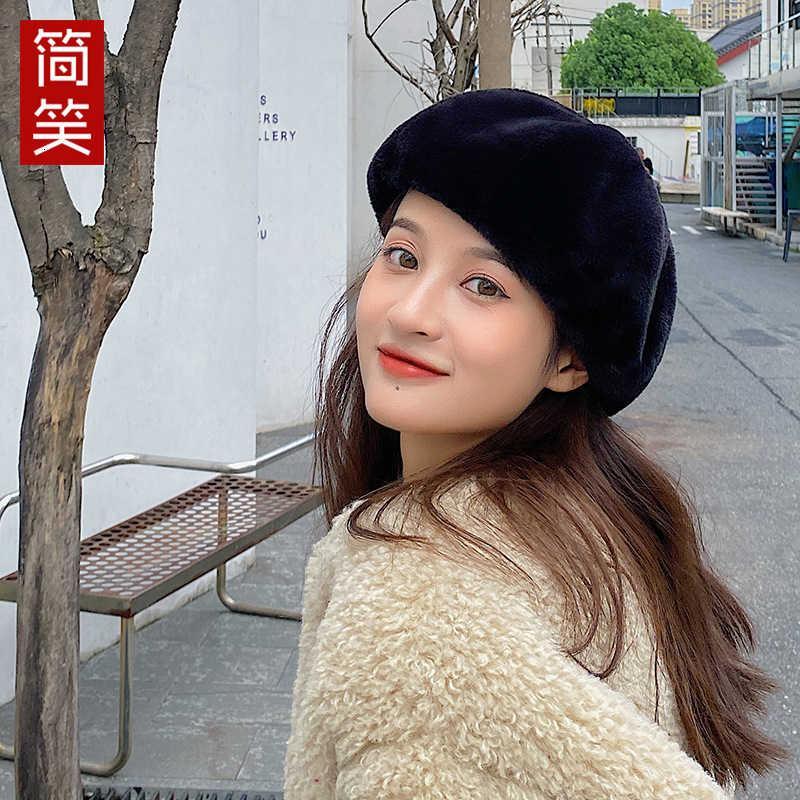 Peluche Automne et hiver Béret coréen Béret chaud Femme Chapeau du peintre britannique