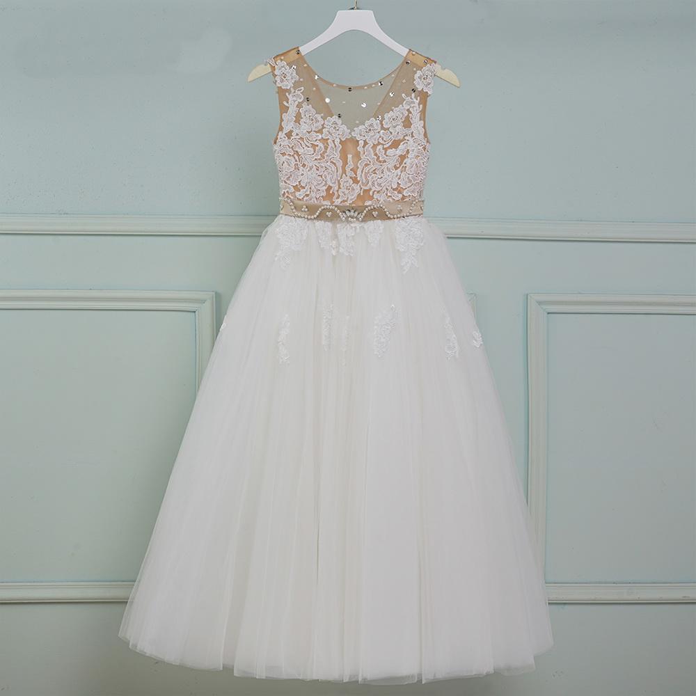 Flower Girls Dresses Appliques Spaghetti Straps Ball Gown Ruffles Tulle Pageant Dresses for Girls Long Girl Dresses for Wedding