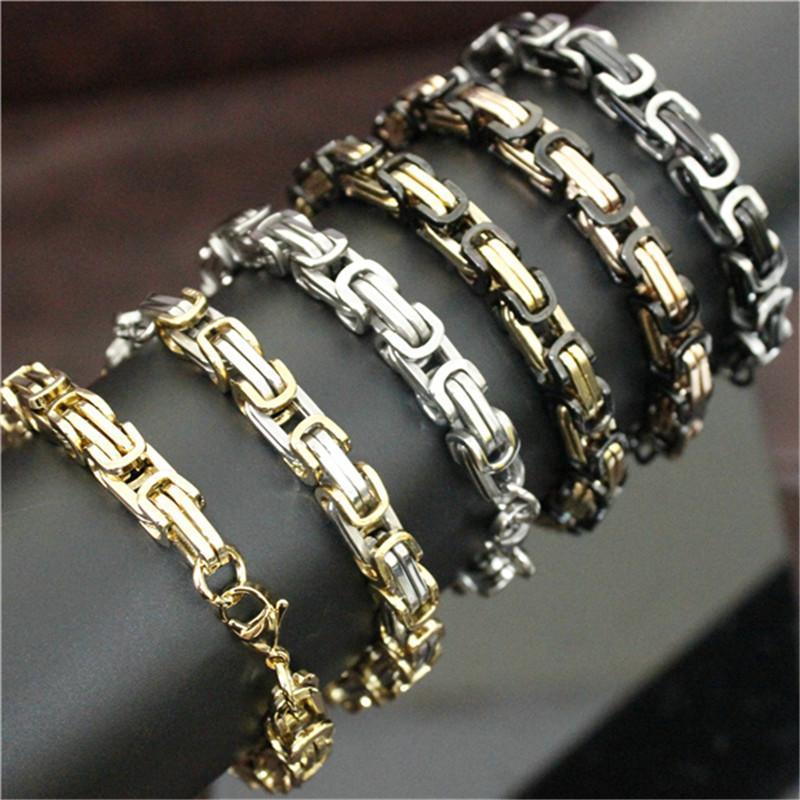 8.5inch 4mm 6mm 8mm Biker estilo pulseira 316L de aço inoxidável moda jóias popular unisex pulseira