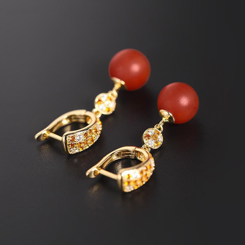 Daimi Baoshan Boucles d'oreilles en agate rouges rouges rouges rouges rouges de Daimi Boucles d'oreilles en argent sterling pour femmes 925