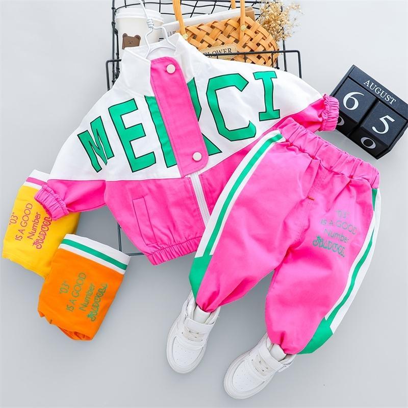 Autumn Kid Boy Girl Ropa Nuevo chándal informal de manga larga Carta con cremallera Conjuntos de ropa para bebés Pantalones de bebé 1 2 3 4 años 201126