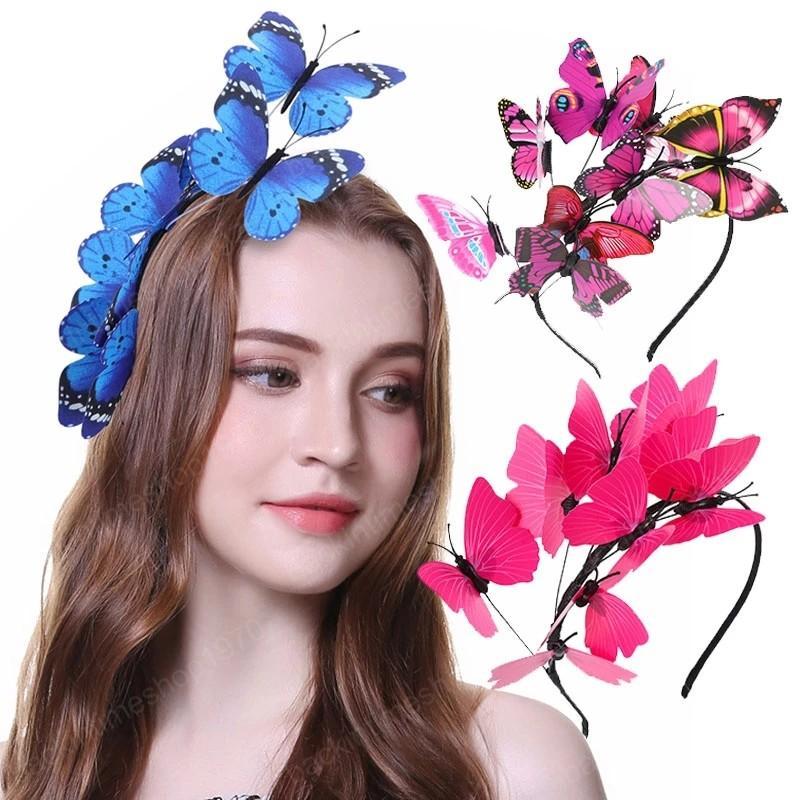 Solid flutter faerie farfalla fasce colorate false farfalle selvaggio capelli hoop woodland photo shoers hairbands