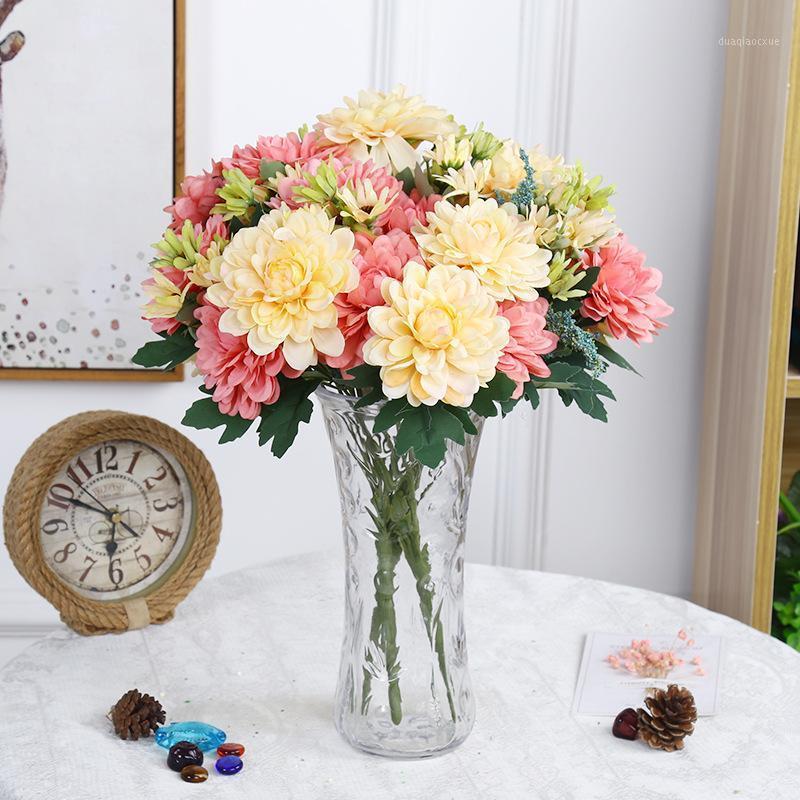 Flores decorativas grinaldas artificiais 10 cabeças de seda craveira casamento buquê de casamento Dahlia diy festa decoração de casa falso chrysanthemum gerbera g10440