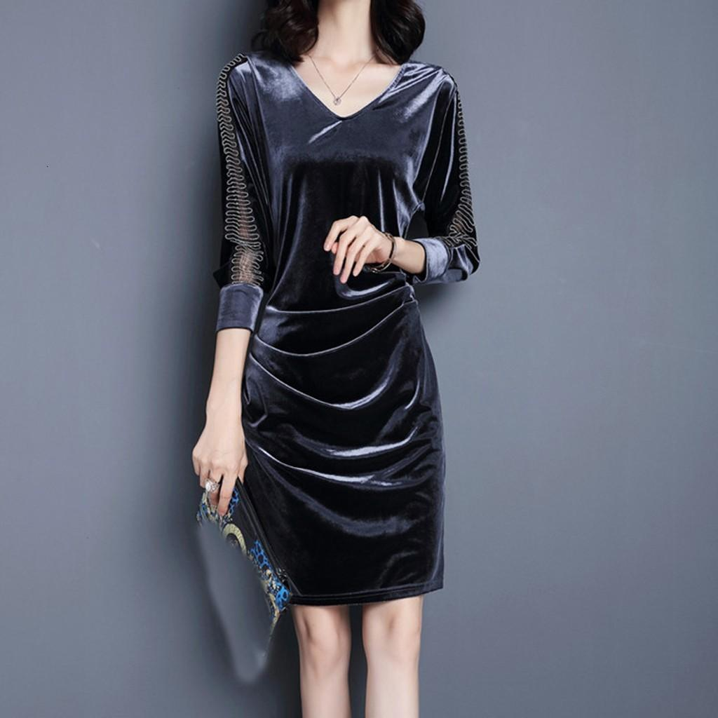 Vintage Veet New Donne Manica lunga Slim Slim Slim Slip ES Ginocchio Lunghezza Elegante Partito Vestidos Plus Size 3XL # J30