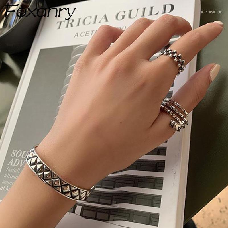 Foxanry Vintage Punk 925 Sterling Silber Schlangenringe für Frauen Neue Mode Einfache Perlen Hohl Geometrische Partei Schmuck Gifts1