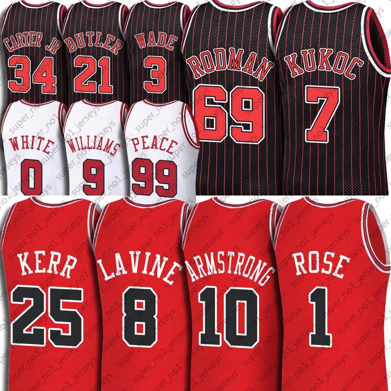 Derrick Zach Rose Lavine Jersey Custom Chicagos Tony Steve Kukoc KERR Jerseys BJ Búsqueda Armstrong Patrick Coby Williams White Butler