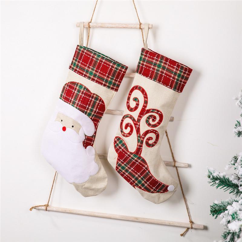 크리스마스 스타킹 양말 산타 엘크 인쇄 리넨 캔디 선물 가방 벽난로 새해 크리스마스 트리 장식 JK2011XB