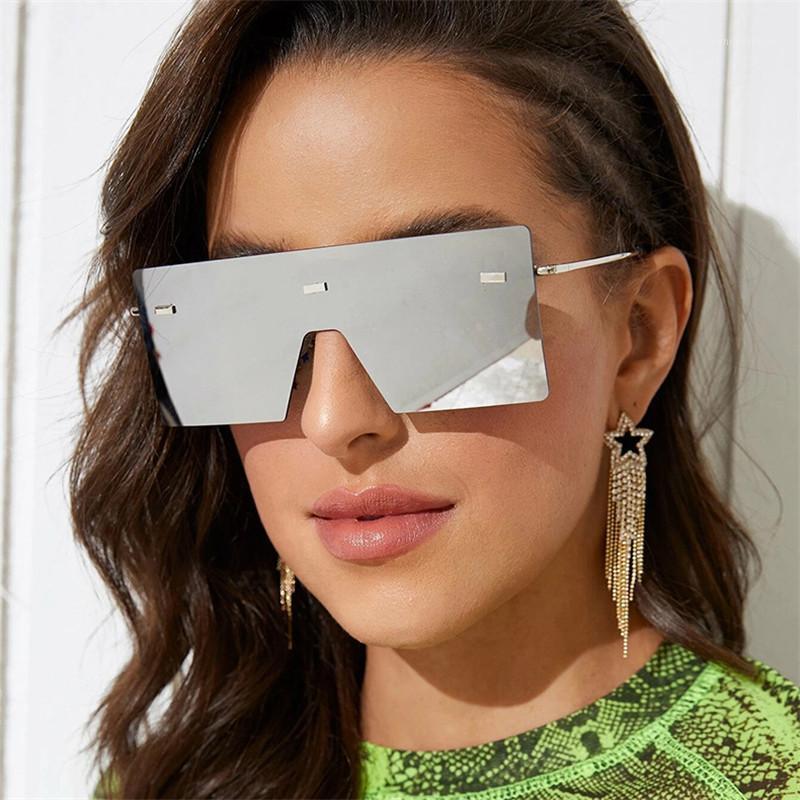 Gafas de sol cuadradas Mujer degradado One Mirror Pieza de sol Gafas Eyeaglass de gran tamaño Gafas Sombras de vidrio Femenino Eyewear Ladies1 UPITT