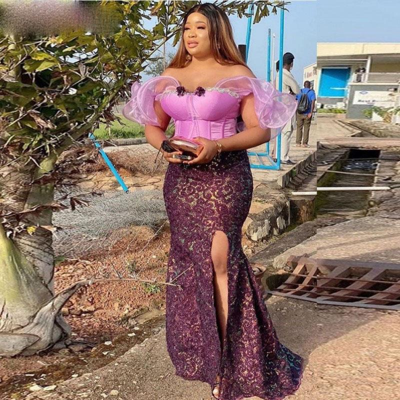 2021 Off The Shoulder Mermaid Prom Dresses Aso Ebi African Fuchsia And Purple Evening Gowns Lace Side Split Party Dress