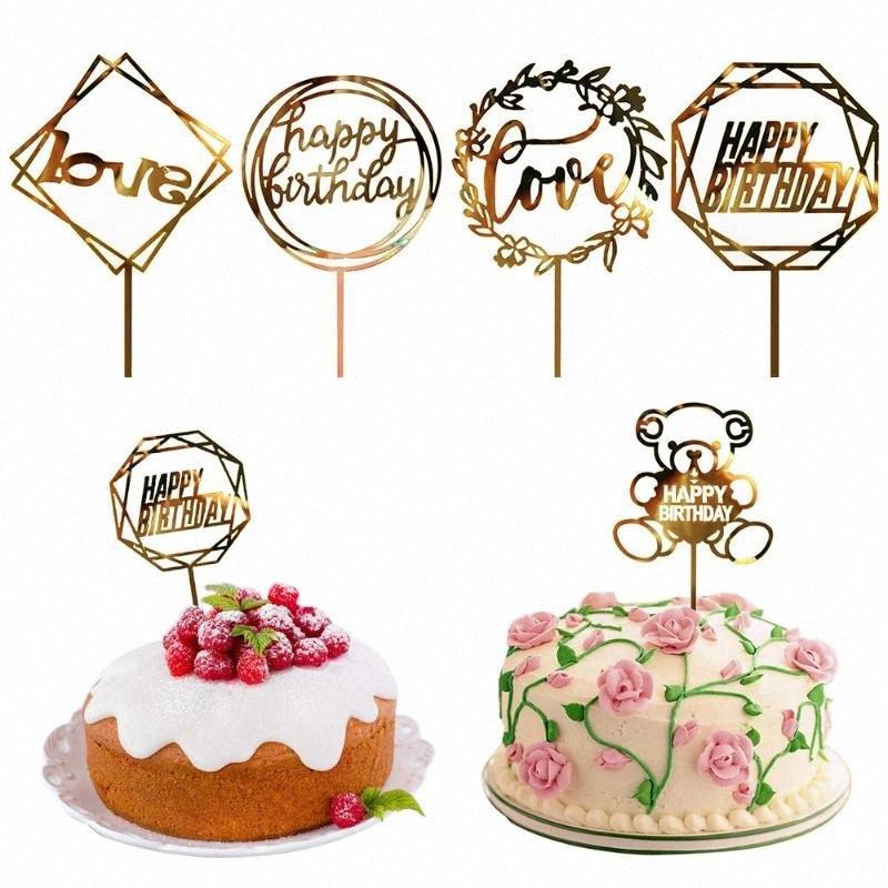 Bolo Topper Fontes do partido Acrílico feliz bolo de aniversário Topper Para Cupcake Flags personalizados do aniversário do partido Decoração F8Ne #