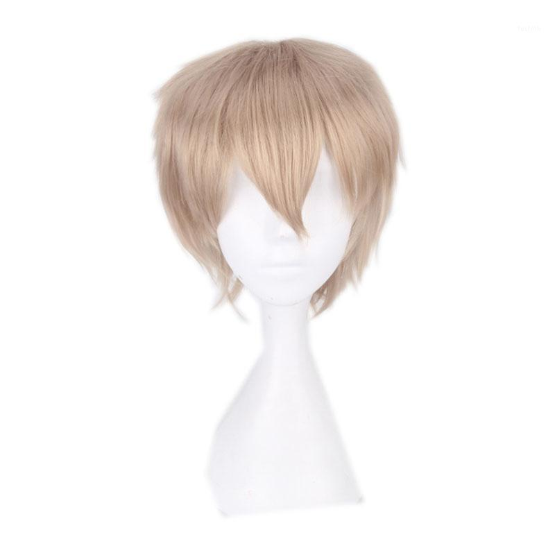 Halloween Anime linen cosplay wig for Men 30cm/11.81 blonde Heat Resistant Synthetic Hair cosplay Wigs male Universal1