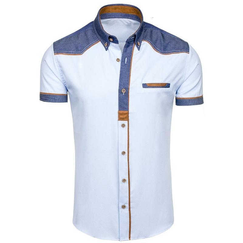Zogaa 2019 Summer Thin Thin's Patchwork Patchwork Camicia Casual Camicia Casual Manica Corta Big Size T-shirt da ufficio traspirante