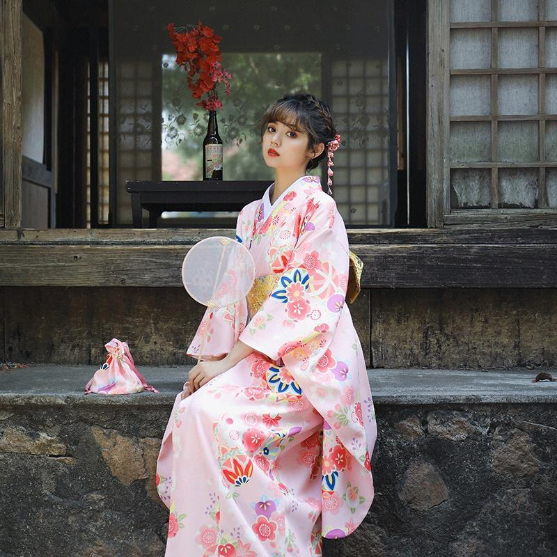 Tradicional japonesa Kimonos Costume Kimono vestido japonês do quimono do yukata Mulheres Roupa asiático fêmea Obi Cosplay 11198