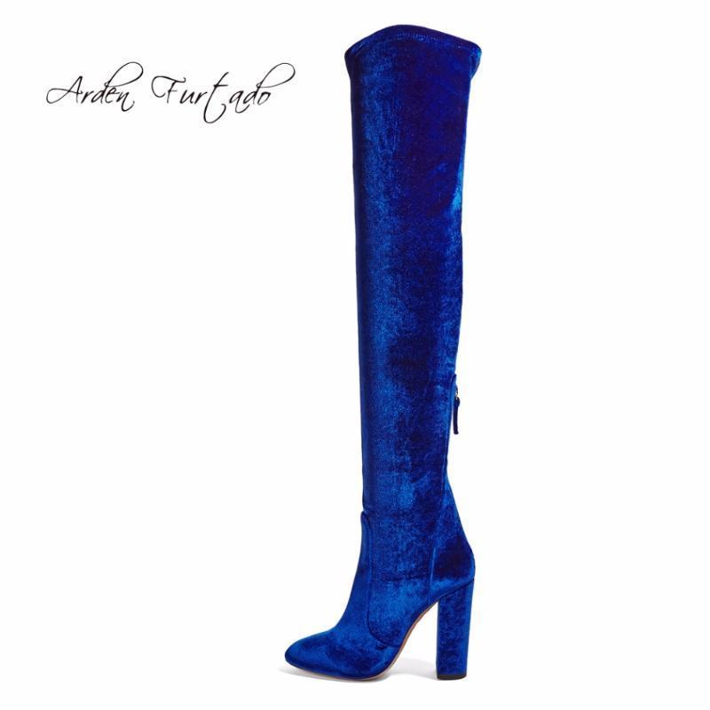 Stivali 2021 Primavera autunno autunno inverno piattaforma di estate tacchi alti blu rosso velluto per donna sopra il ginocchio stretch scarpe lunghe
