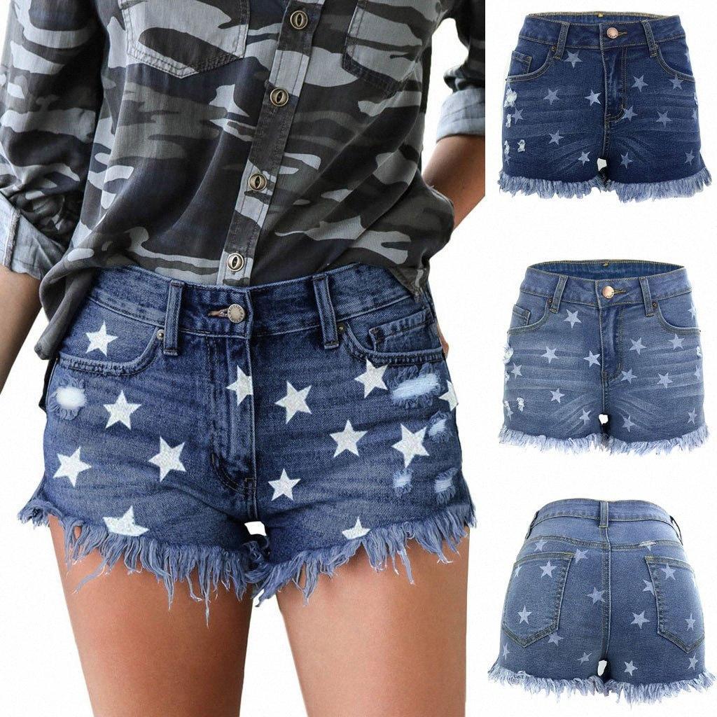 Mamma jeans scarni delle donne sexy sottile della stampa della stella dei jeans a vita alta Button tasca dei pantaloni della nappa dei pantaloni di bicchierini Mujer S10 h8kk #