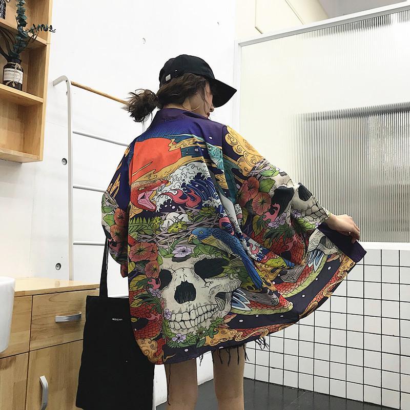 Womens tops e blusas harajuku kawaii camisa japonês streetwear outfit kimono cardigan feminino yukata blusa womens AA001 lj200831