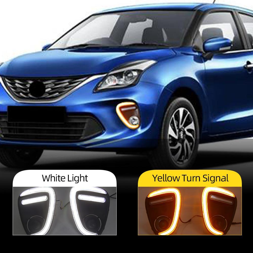 2PCS Car LED DRL For Suzuki Baleno 2019 2020 Daytime Running Lights Fog Lamp with yellow turn signal