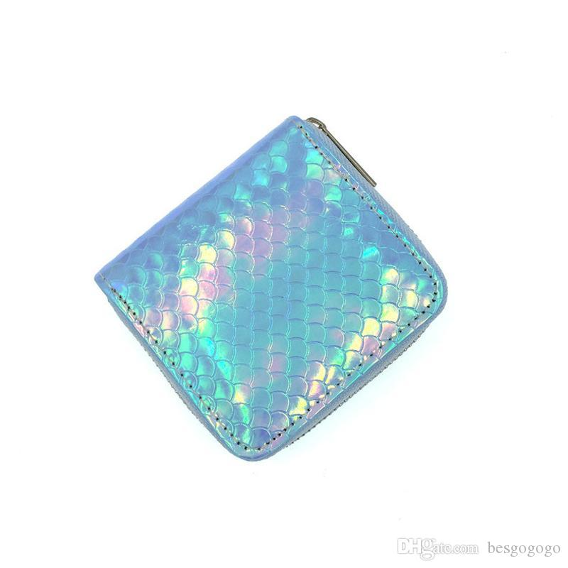 Sequin Women Wallets Holder Mermaid Purse Small Short Lady PU DBC Wallet Case Coin Purses Clutch Zipper Lines Card Clip Handbag Money V Wdpf