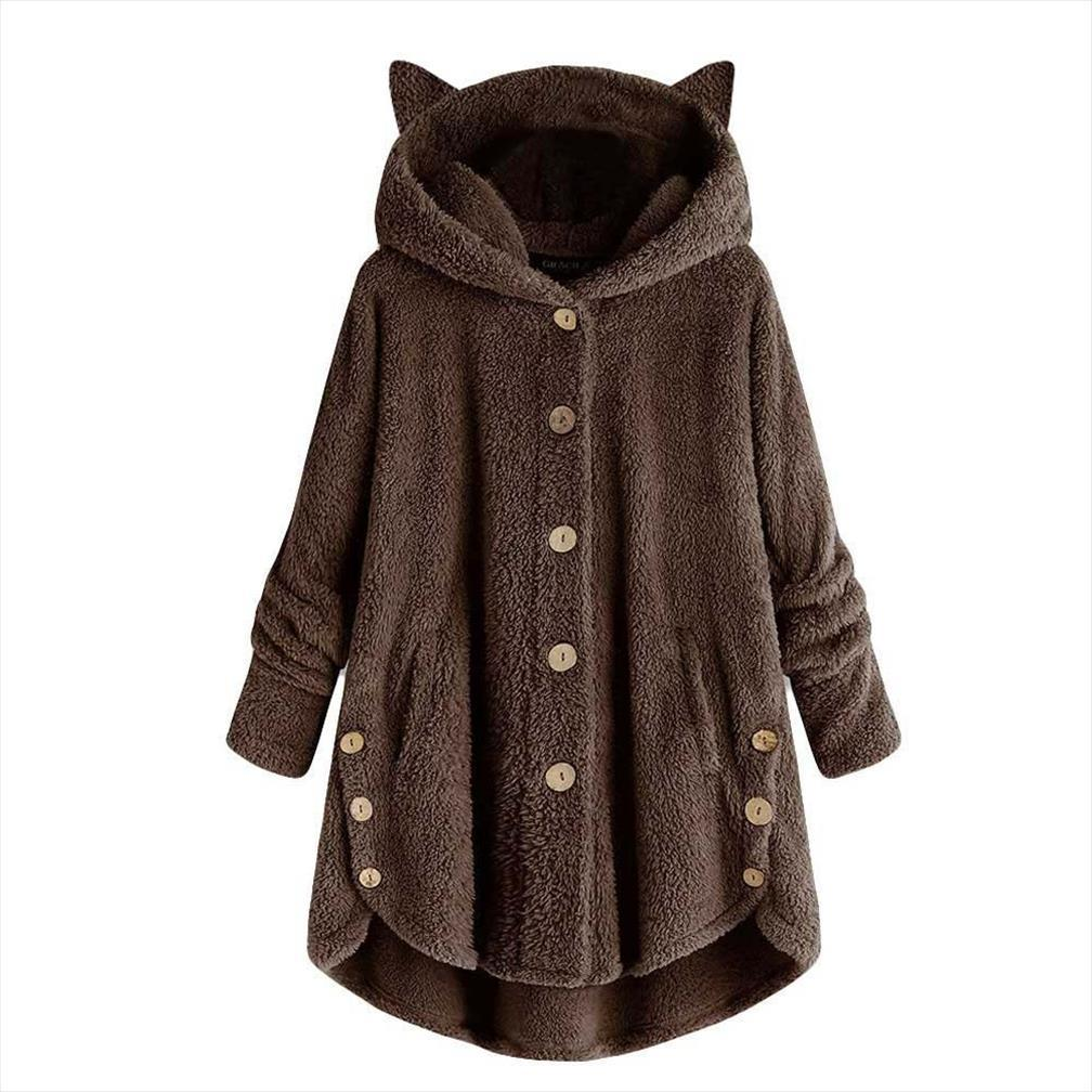 Oreja de gato sudadera con capucha de las mujeres Botón Escudo sólido suelto caliente más el tamaño de invierno sudor polerones femme MUJER hodies las mujeres
