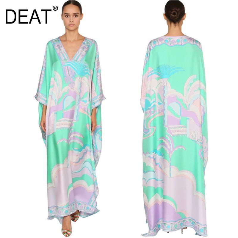 [Дикс] 2020 по сравнению с длинным платьем длиной женщины шелковые печати богемный башмак V-воротник в размере элегантный новый модный прилив LJ200915