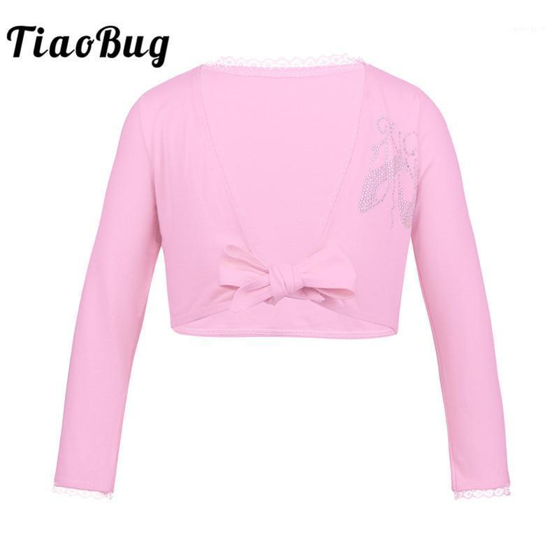 TiABUG Kind Klassische Langarm Ballett Tanz Strickjacke Frontknoten Baumwolle Gym Wrap Top Mädchen Tanz Top Ballerina Kinder Wear1