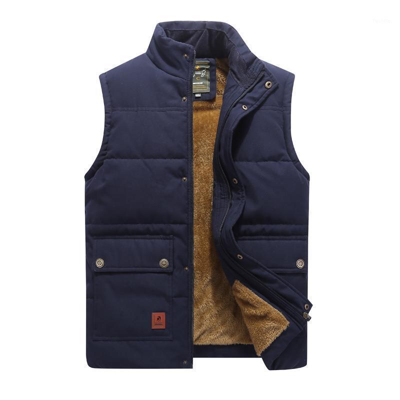 Outono inverno forro grosso waistcoat casacos masculinos vestido quente homens casuais slim sem mangas jaqueta de algodão de algodão plus tamanho 7xl1