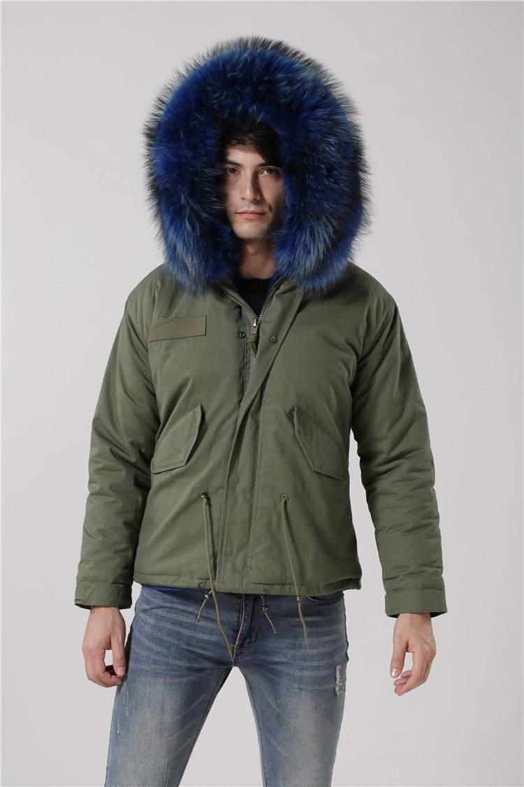 Mantenha Meifeng Meifeng Meifeng Azul Liner Fur Liner Homens Exército Verde Mini Parkas com Pele de Raccoon Azul Trim Outdoor Snow Casacos