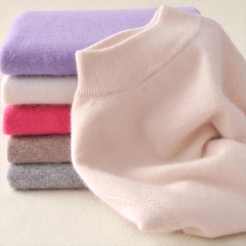 Para mujer cachemira elásticos Otoño Invierno La mitad de cuello alto suéteres y jerseys de lana suéter delgado apretado que basa el suéter de punto