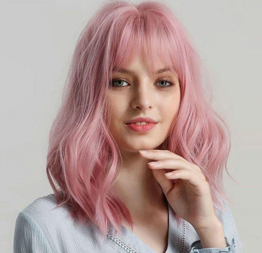 السجائر الوردي جميل بوبو قصير مجعد الباروكة سيدة الطبيعية الألياف الكيميائية عالية الحرارة شعر مستعار مع الانفجارات غطاء الرأس الكامل