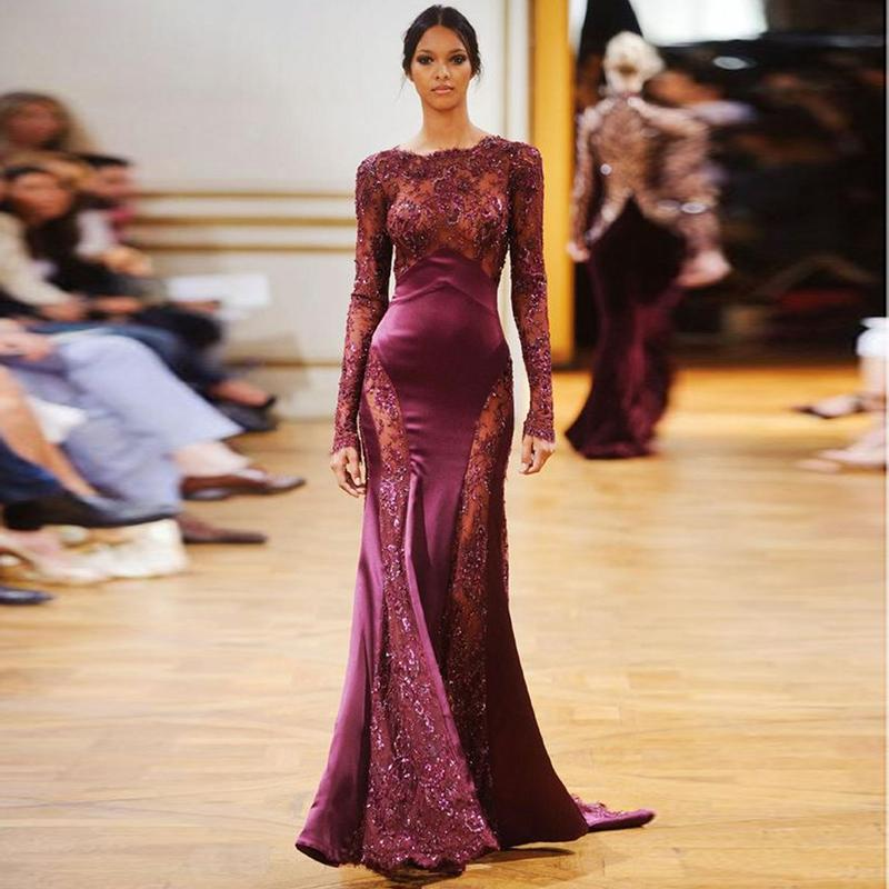 Elegant Burgundy Evening Dresses Mermaid Beaded Long Sleeves Keyhole Back Prom Dress Scoop Neck Beaded Red Party Gowns