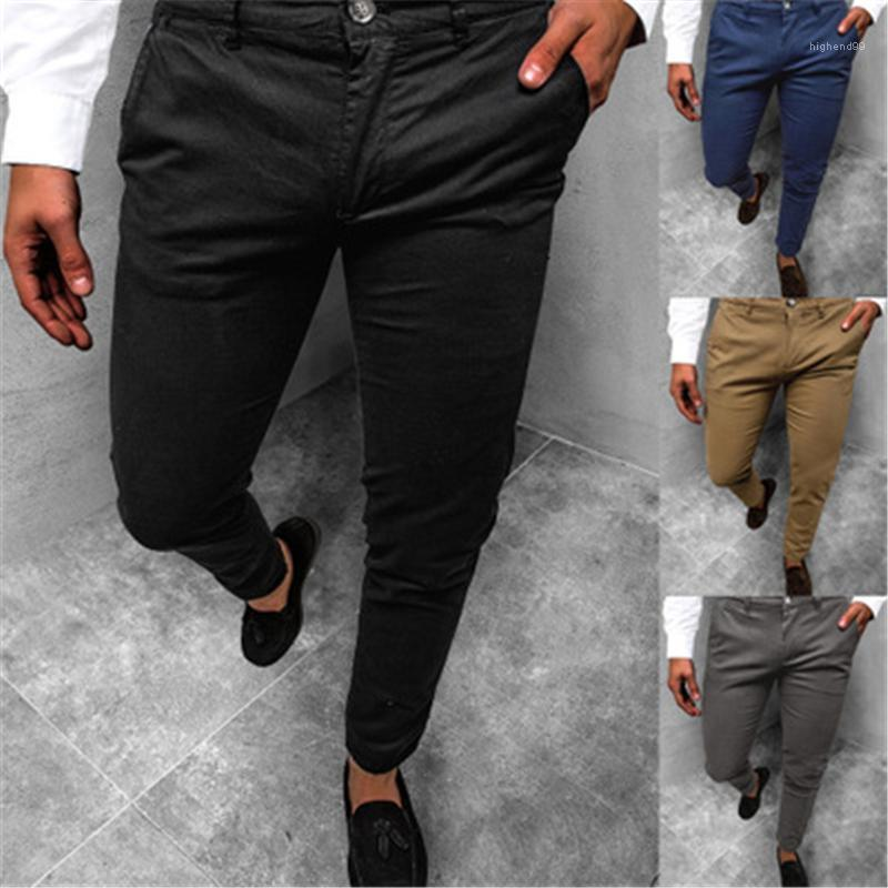 Waist Pencil Pants Spring Male New Business Casual Skinny Trousers Mens Solid Color Slim Pants Fashion Trend Zipper Buttons Middle