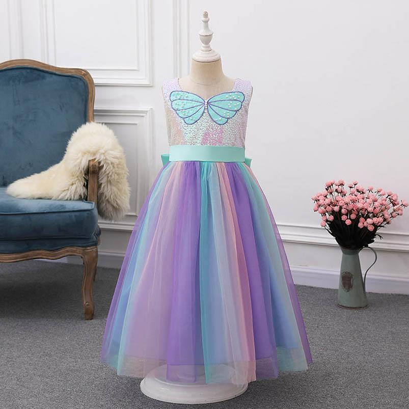 Mermaid Girls Vestidos Sequin Bowknot Niños Vestido Lace Long Princess Dress Beach Party Dresses Vestidos formales Ropa para niños Sin mangas B3937