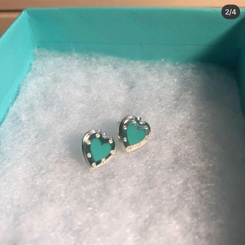 TIFF classico Blue Love Heart S925 Sterling Silver Earrings Ladies Party Regali di compleanno di compleanno alla moda