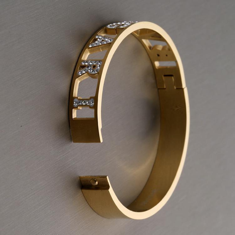 Gli uomini all'ingrosso di modo del diamante delle donne del braccialetto di fuori ghiacciato Shinning acciaio inossidabile polsino di disegno del braccialetto del No dissolvenza migliore regalo di amore braccialetto