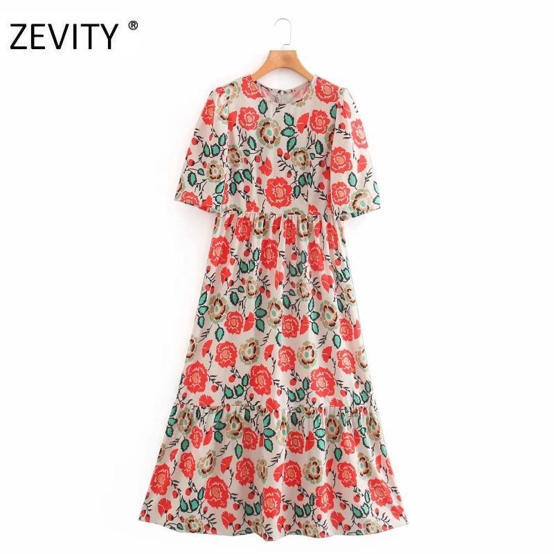 Zevity Women Vintage Flower Print Pleats A Line Midi Vestido Elegante Señora Manga corta Vestido Chic Casual Slim Party Dress DS4226 0930