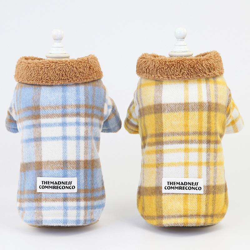 Плед Стиль Two Feet Теплого пальто собаки для осени и зимы Синих желтого цвета Теплых Pet Одежда для собак пледа ватных курток хлопка