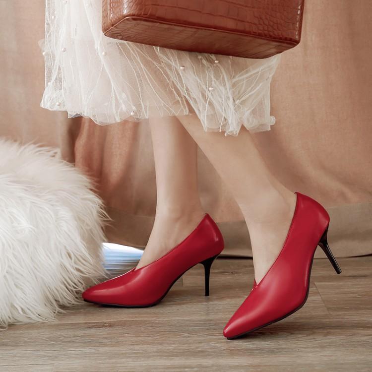 Bombas senhoras extragrandes saltos altos mulheres sapatos mulher Mulheres com estiletes pontiagudos e saltos altos