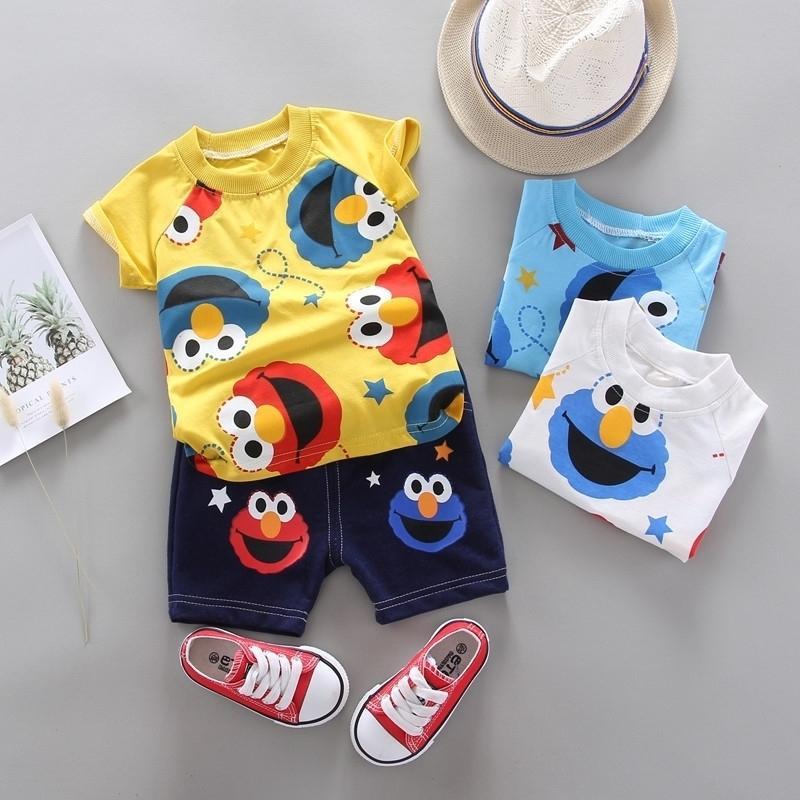 Sommerkinder Jungen Mädchen Kleidung Kinder Cartoon Kleidung Infant Anzug Kleinkind T-Shirt Hosen Set Baby Casual Trainingsanzug 0-4 Jahre Y200829