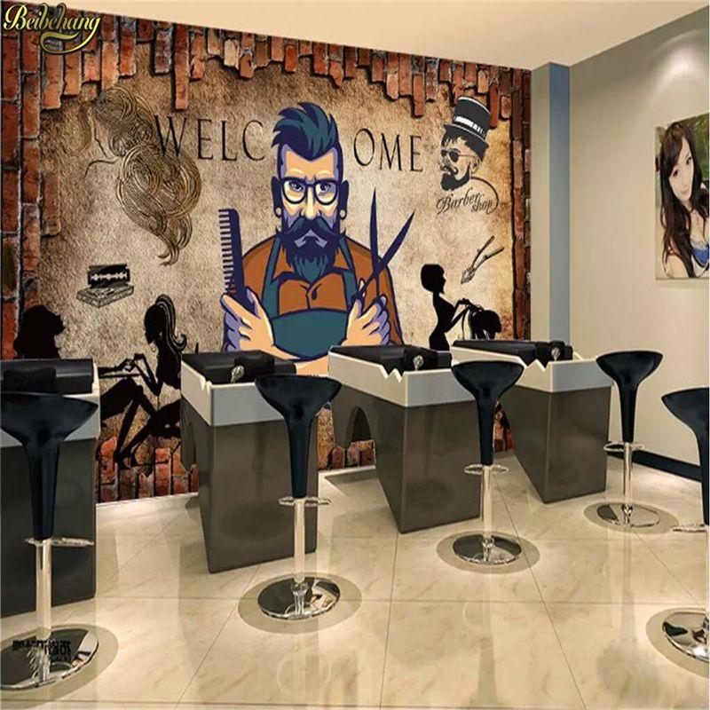 beibehang abitudine 3D carta da parati murale muro di mattoni parrucchiere parrucchiere carta salone di bellezza salone di parete di fondo papel de parede