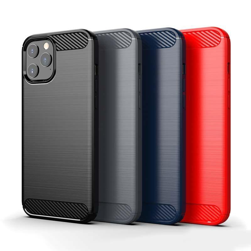 La fibra de carbono textura de TPU para el iPhone 12 Pro Max 2020 Se LG Stylo 6 Harmony 4 terciopelo Pixel 5 Samsung Nota 20