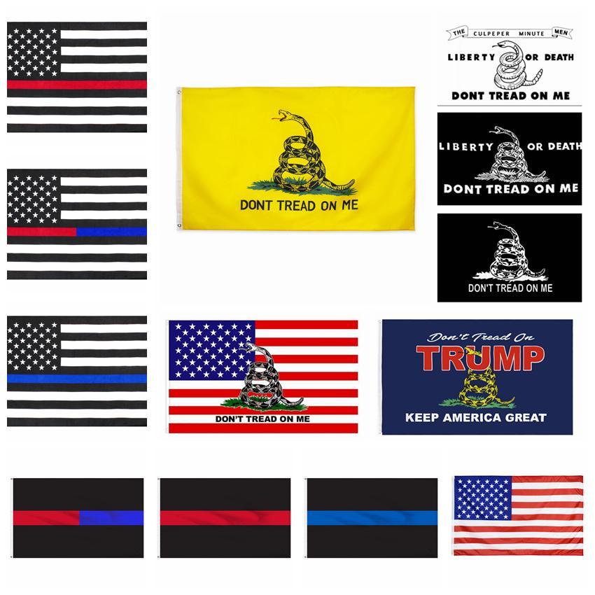 NON calpestare ME bandiera 90 * 150 CM Gadsden Bandiera blu linea rossa Bandiera serpente giallo Banner briscola USA bandiere decorazione della casa cyf4469