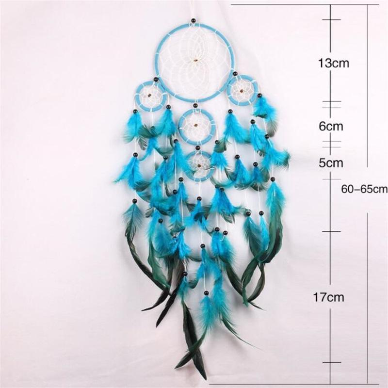 Handmade Dream Catcher Wind Chime Net Natural Pena Fazer Mobiliário Home Decorar Parede Azul Pendurado Delicada Nova Chegada 11 5jy M2
