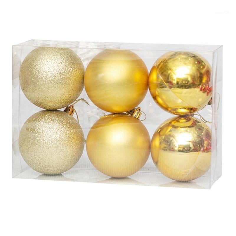 6pcs 8cm Bola de Navidad Bola de navidad A prueba de Navidad Bolas de Navidad Adorno para vacaciones Navidad Decoración de fiesta Adornos de árbol - Rosy1